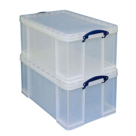 storage box really useful box stackable storage box 64l clear pack of 2 staples 174