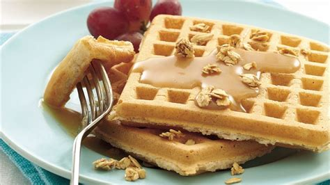 Egg Butter Waffel whole wheat waffles with honey peanut butter syrup recipe from betty crocker