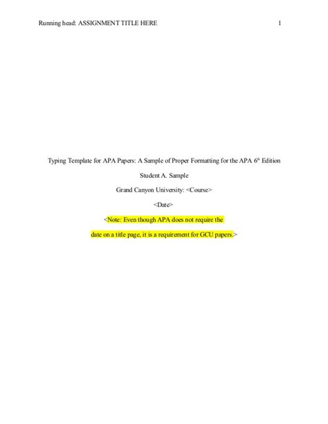 apa format title page 6th edition template apa 6th edition template without abstract