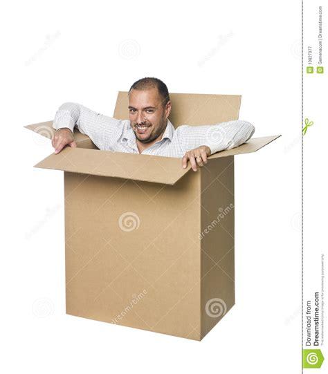 man   cardboard box stock image image  brown