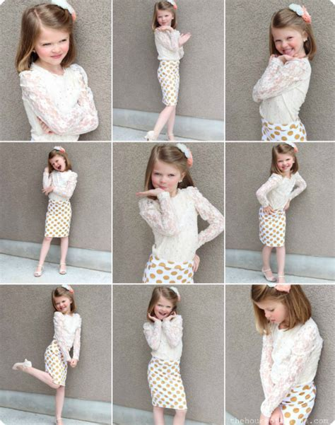 pose child model photoshoot traditions polka dot skirts helping cure kids