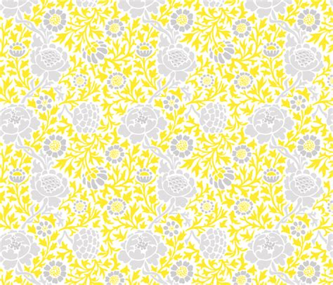 flower pattern eshop gray and yellow retro floral damask fabric sweetzoeshop
