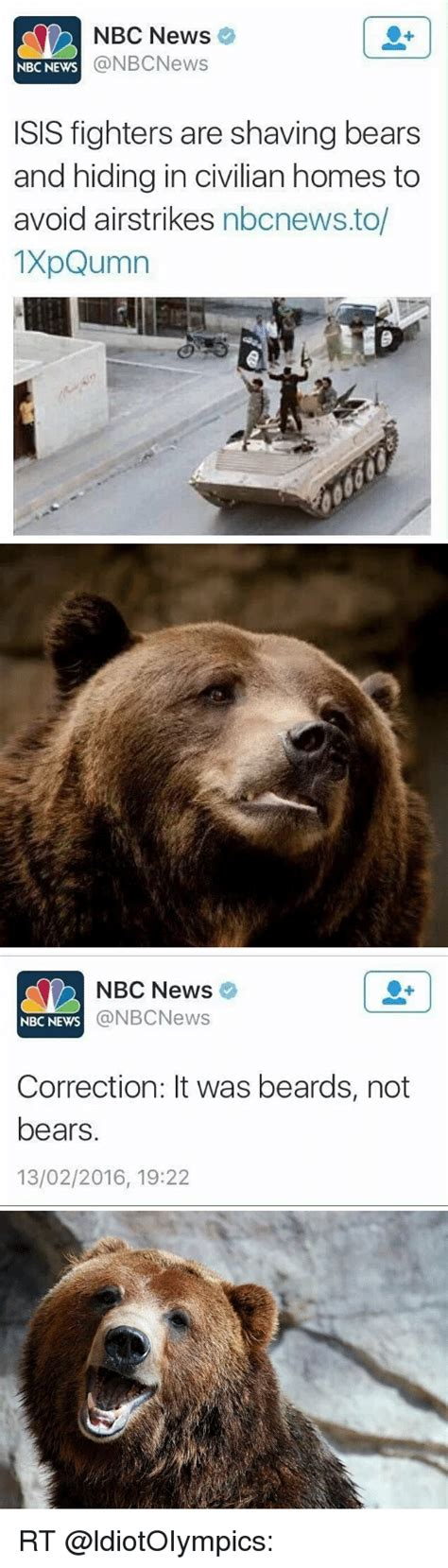 Shaved Bear Meme - nbc news a nbcnews nbc news sis fighters are shaving bears and hiding in civilian homes to avoid