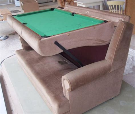 pool table that turns into a table sofa hides pool table underneath cushions techcrunch