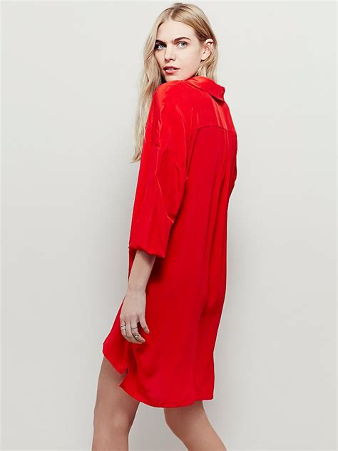 free womens silk shirt dress in lyst