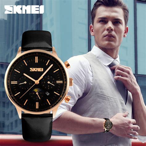 Trr3 89 Jam Tangan Terbaik skmei jam tangan kasual pria 9117cl black gold