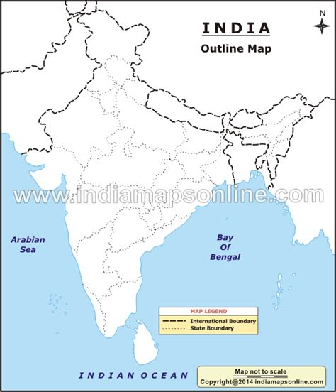 An Outline Political Map Of India by The India Outline Map Is Given Specially For The Students Who Can It Free For Their