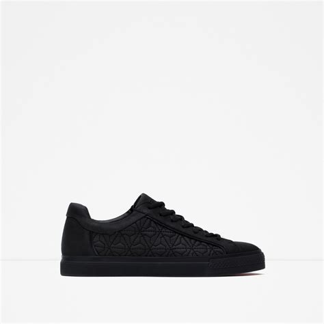 Zara Sneakers zara sneakers with quilted detail in black for lyst