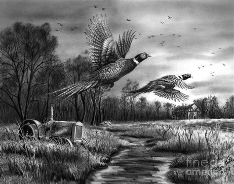 Nature Duvet Cover Taking Flight Drawing By Peter Piatt