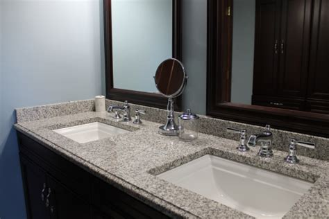 How To Care For Granite Countertops Bathroom by Sink Bathroom Granite Countertop Color Pearl Kenosha Granite Counter Installers