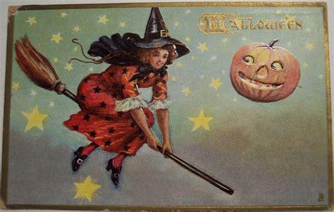 printable halloween vintage postcards vintage halloween postcard tuck 183 witch on broom flickr