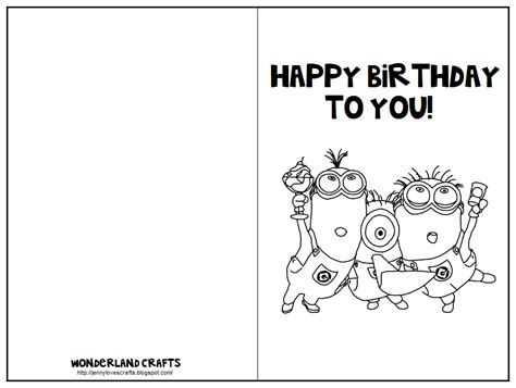 printable birthday cards to color wonderland crafts birthday cards