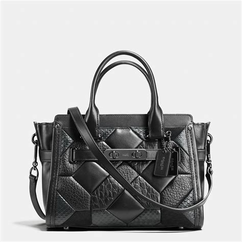 Coach Swagger 27 In Smooth Leather Black coach quilt swagger 27 in embossed leather