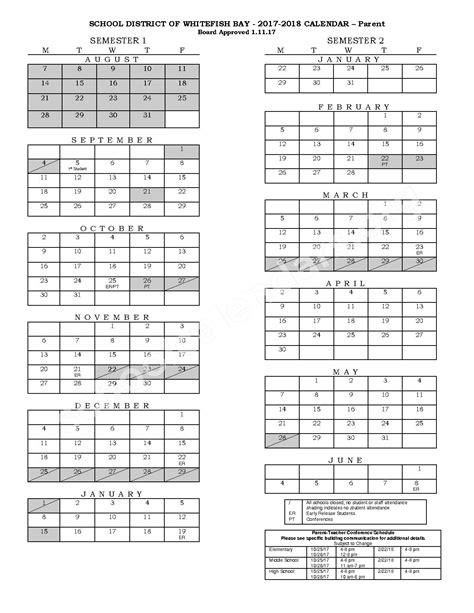 Bay District Schools Calendar Whitefish Bay School District Calendars Whitefish Bay Wi
