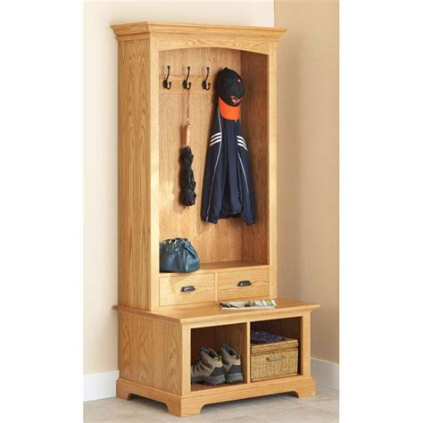 hall tree bench with storage hall tree storage bench woodworking plan from wood magazine