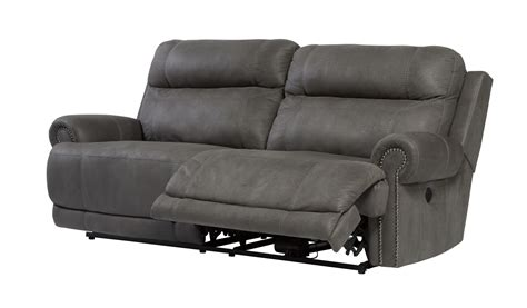 austere power reclining sofa austere two seat reclining power sofa in gray 3840147