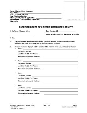 Maricopa County Superior Court Civil Search Affidavit Supporting Publication Fill Printable Fillable Blank Pdffiller