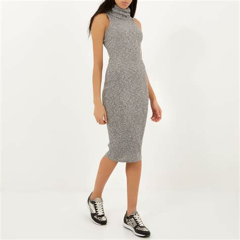 river island knitted dress river island grey knitted bodycon cowl neck midi dress in