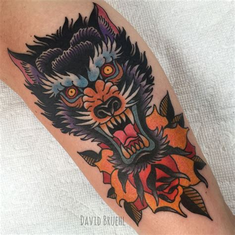 american traditional wolf tattoos bright fierce symmetrical wolf and on