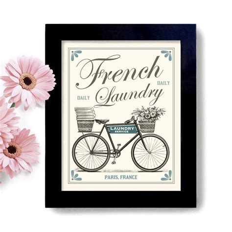 French Laundry Home Decor by Laundry Room Decor French Country Home Art Sign Bicycle Art
