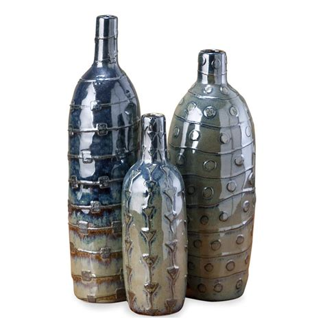 Blue Gray Vase Harrington Contemporary Rustic Blue Gray Olive Vase Set