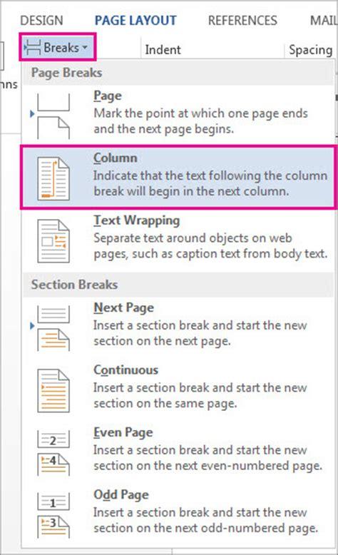 insert section break in word insert a column break word