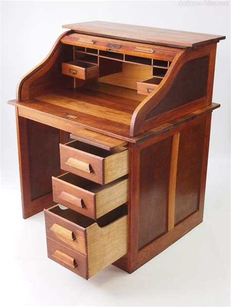 wooden roll top desk small oak roll top desk bureau antiques atlas