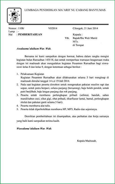 surat pemberitahuan pesantren kilat ramadhan 1435 h niddumulu dot