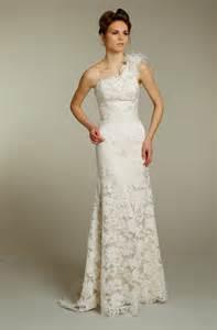 One Shoulder Wedding Dresses Romantic Lace One Shoulder Jim Hjelm Wedding Dress Onewed Com