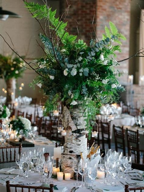 centerpieces made from nature woodland wedding ideas happywedd