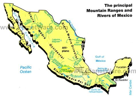 map of rivers in mexico map of mexico mountain ranges rivers planetware