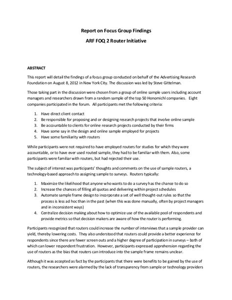 focus discussion report template arf foq2 router focus report