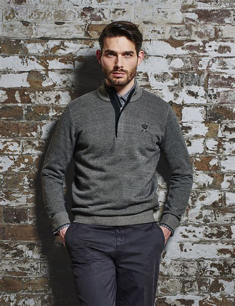 jeff banks jeff banks jeff banks half zip micro knit currently