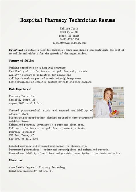 pharmacy technician resume sles hospital pharmacist sle resume graduate resume template