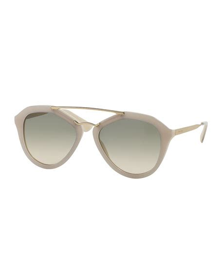 Acetatemetal Logo Sunglasses by Prada Acetate Metal Aviator Sunglasses Ivory
