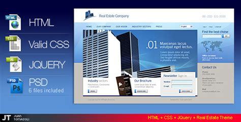 templates for website using jquery html css jquery real estate theme by juantomasoli