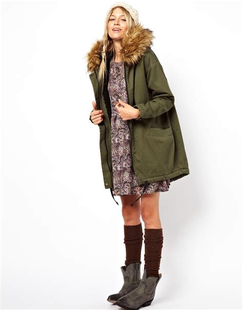 Asos Parka by Asos Cocoon Parka With Oversized Faux Fur Trim In
