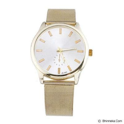 Jam Tangan Casual Import Quartz A60005 harga fashion exclusive imports unisex white golden alloy mesh band 642742