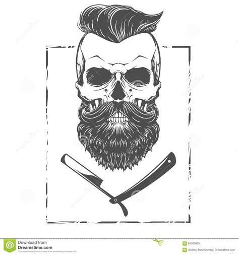 bearded skull illustration stock vector image of logo