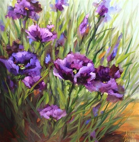 nancy medina purple poppy flower garden painting by