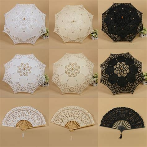 handmade cotton lace parasol umbrella fan