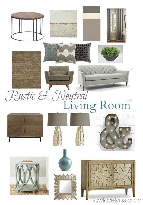 rustic neutral living room mood board furniture grey and side tables
