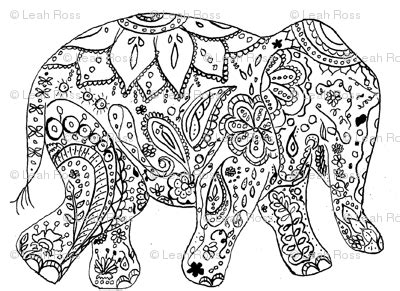 detailed elephant coloring pages henna elephant fabric live cre8 spoonflower