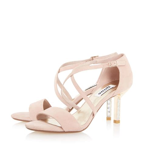 pink mid heel sandals dune mindee diamante mid heel sandals in pink lyst