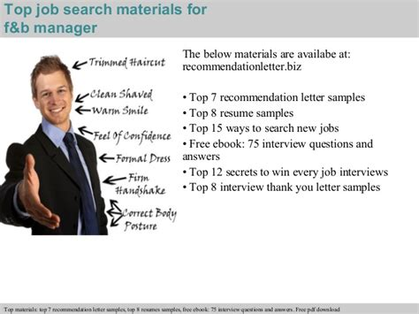 Resumes Samples For Jobs by F Amp B Manager Recommendation Letter
