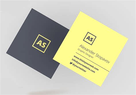 mini square business card psd templates design graphic