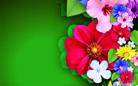 Colorful Interior by Flowery Effect Abstract Wallpapers On Green Background