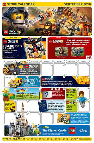 Calendar Store Lego September 2016 Store Calendar Promotions Events
