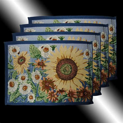 country blue sunflower florals tapestry cushion covers