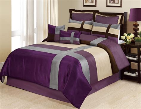 Homechoice Comforters by Homechoice 8 Dorsey Satin Patchwork Bed In A Bag